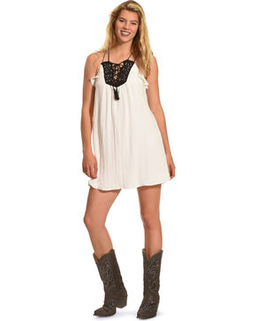 Polagram Women's Lace Up Tassel Dress , White, hi-res
