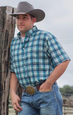 Cinch Men's White One Pocket Plaid Short Sleeve Shirt , , hi-res