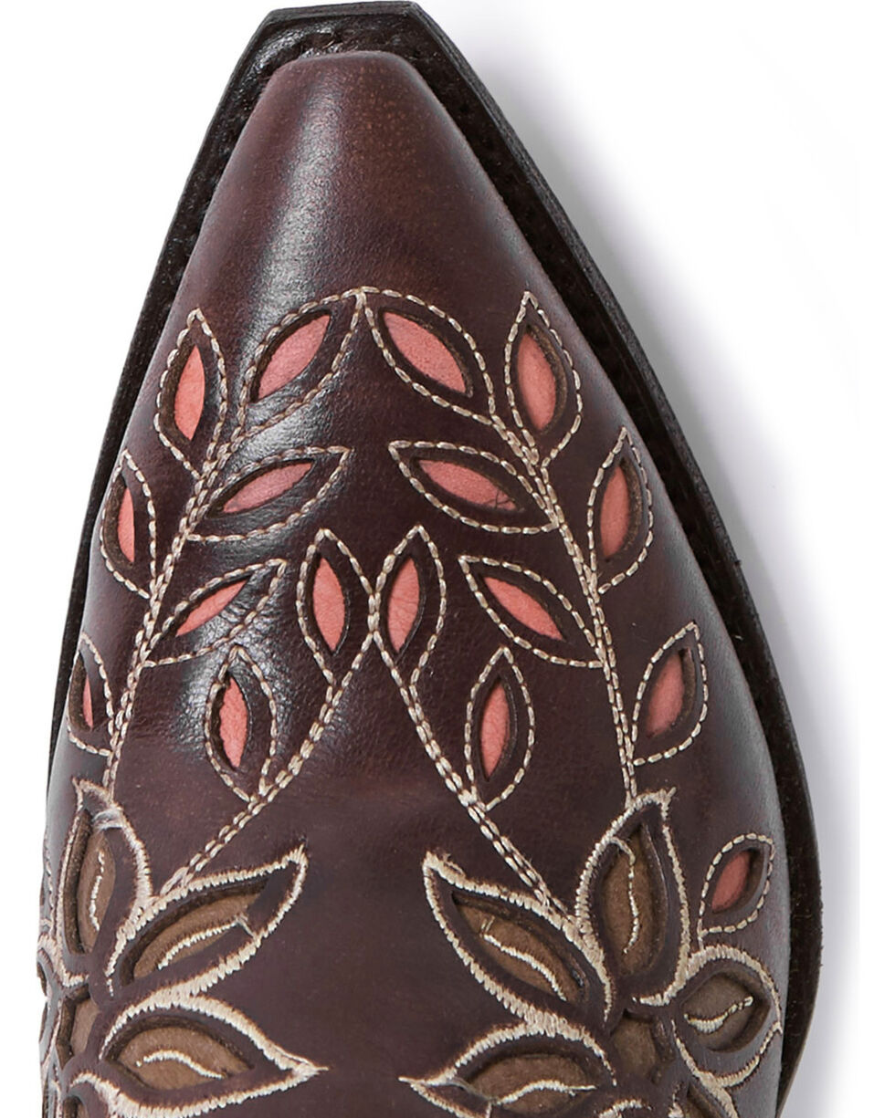 Stetson Women's April Pink Floral Embroidered Western Boots - Snip Toe, Pink, hi-res