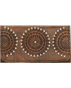American West Womens Kachina Spirit Tri-Fold Wallet, Brown, hi-res