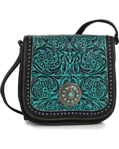 Trinity Ranch Women's Turquoise Tooled Crossbody Messenger Bag , Black, hi-res