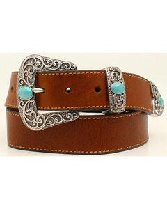 Ariat Basic Leather Belt w/3pc Turq Stone Buckle Set, , hi-res