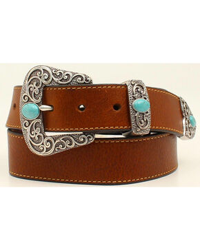Ariat Basic Leather Belt w/3pc Turq Stone Buckle Set, Brown, hi-res