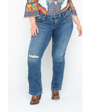 Sliver Women's Elyse Distressed Slim Boot Jeans/ Plus Size , Indigo, hi-res
