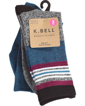 K. Bell Women's 3-Pack Soft & Dreamy Crew Socks , Black, hi-res