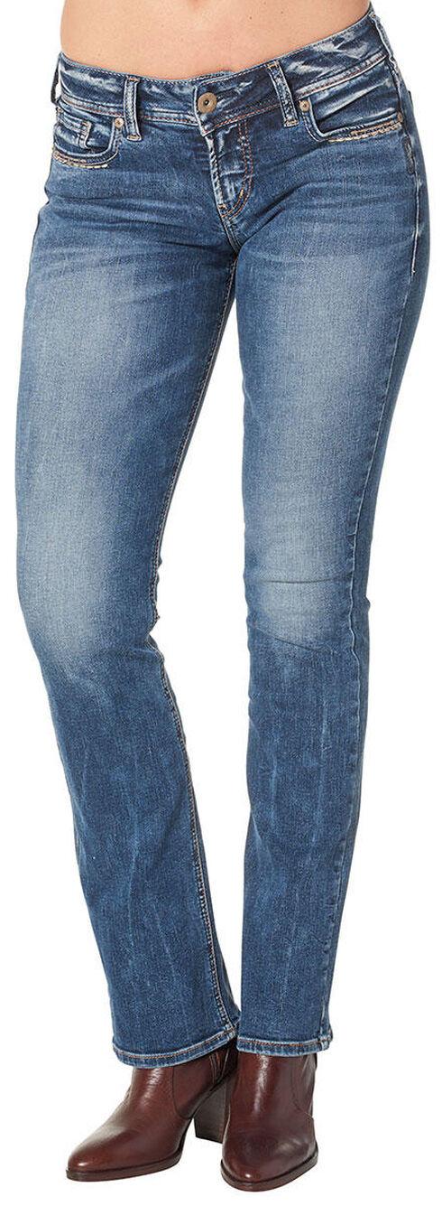 Silver Women's Suki Mid Slim Bootcut Medium Wash Jeans - Plus Size, Blue, hi-res