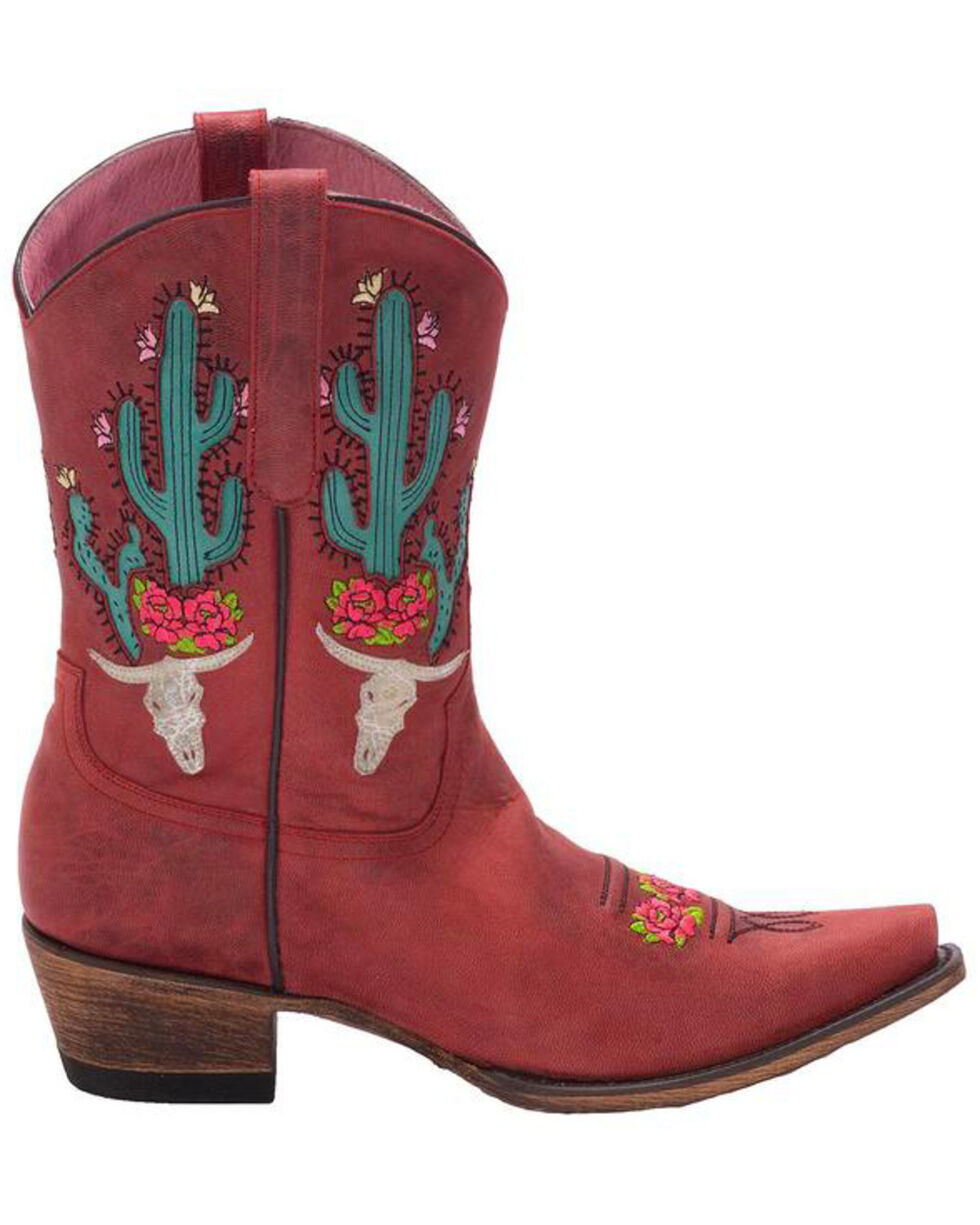 Junk Gypsy by Lane Strawberry Bramble Rose Western Boots - Snip Toe, Red, hi-res