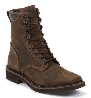 "Justin Men's Driller 8"" Waterproof Lace-Up Work Boots - Composite Toe, Barnwood, hi-res"