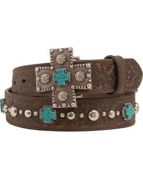 Ariat Silver and Turquoise Cross Belt, Brown, hi-res