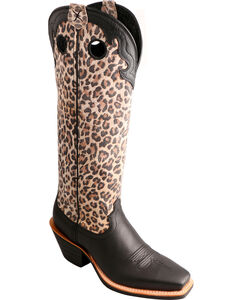 """Twisted X 16"""" Leopard Print Buckaroo Cowgirl Boots - Square Toe, Black, hi-res"""