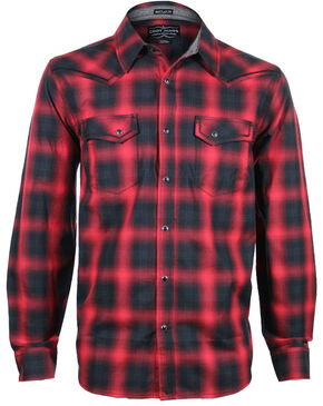Cody James Men's Sky Plaid Long Sleeve Shirt, Red, hi-res