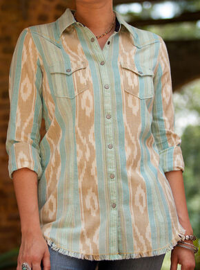 Ryan Michael Women's Sky Print Ikat Western Shirt , Blue, hi-res