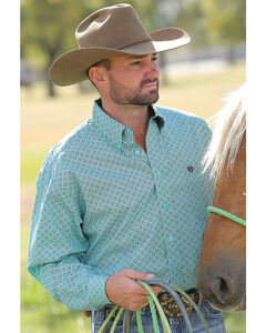 Cinch Men's Turquoise Dyed Button Long Sleeve Shirt , Turquoise, hi-res