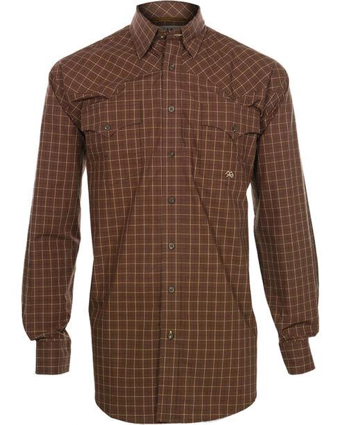 Miller Ranch Men's  Check Pattern Long Sleeve Western Shirt, Brown, hi-res