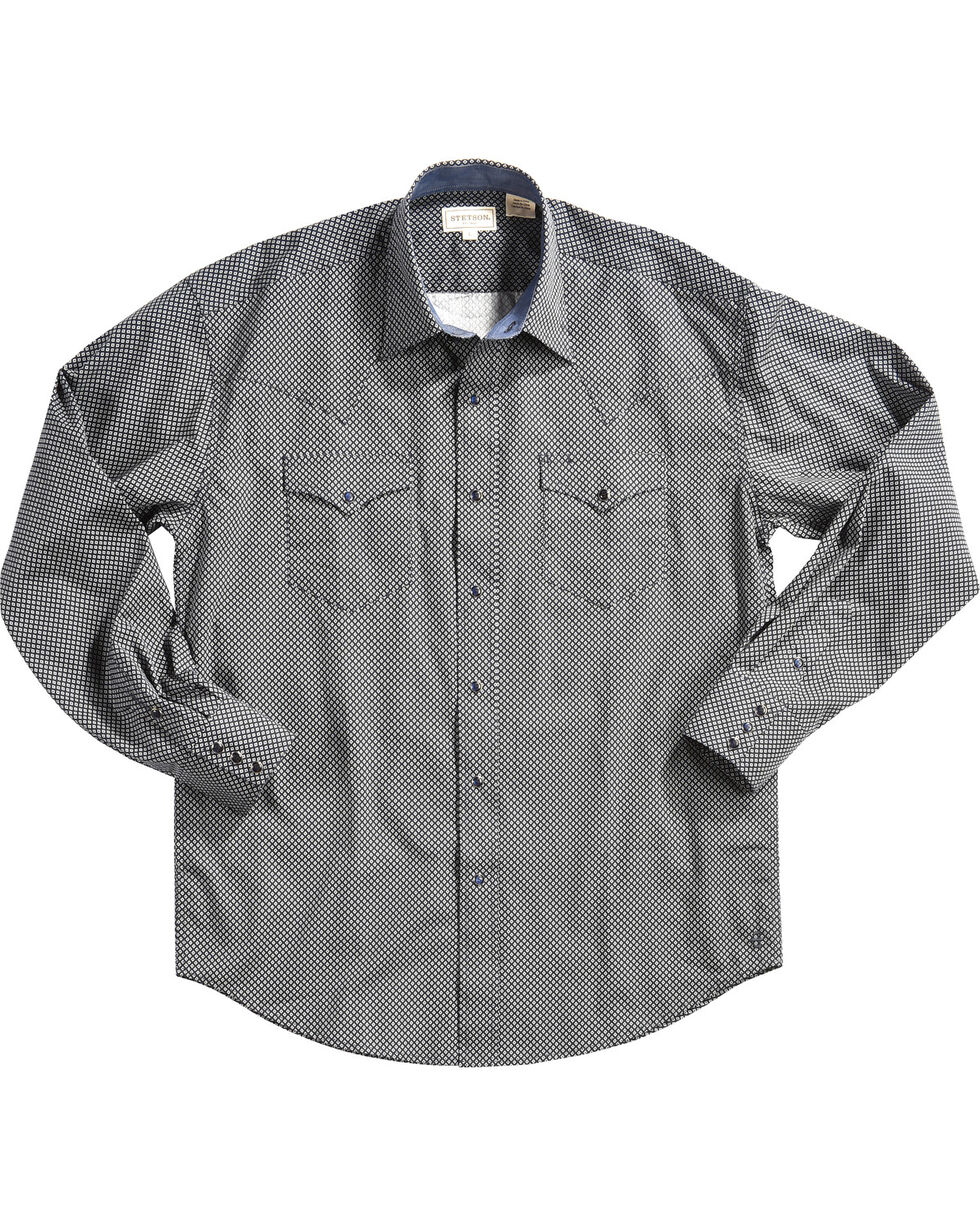 Stetson Men's Blue Geo Print Long Sleeve Western Shirt, Blue, hi-res