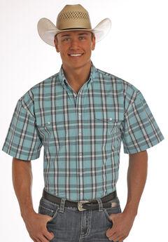 Panhandle Slim Men's Turquoise Poplin Plaid Short Sleeve Shirt, , hi-res