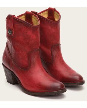 Frye Women's Burgundy Jackie Button Short Boots - Medium Toe , Burgundy, hi-res