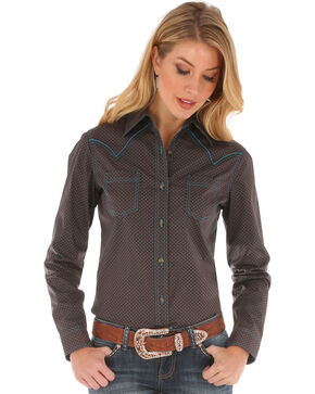 Wrangler Women's Contrast Stitching Long Sleeve Shirt, Brown, hi-res