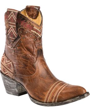 Old Gringo Yippee Ki Yay Alexa Aztec Embroidered Short Cowgirl Boots - Pointed Toe, Brown, hi-res