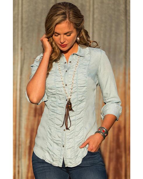 Ryan Michael Women's Ruched Front Shirt , Indigo, hi-res