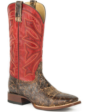 Stetson Men's Red Gunsmoke Western Boots - Square Toe , Brown, hi-res