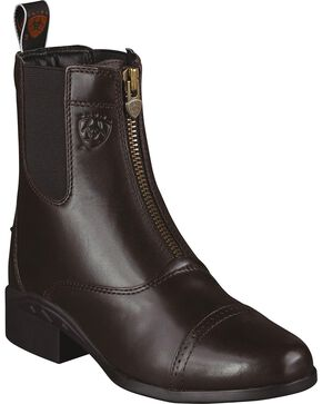 Ariat Heritage Zipper Paddock Riding Boots - Round Toe, Chocolate, hi-res