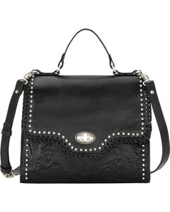 American West Women's Black Hidalgo Top Handle Convertible Flap Bag , , hi-res