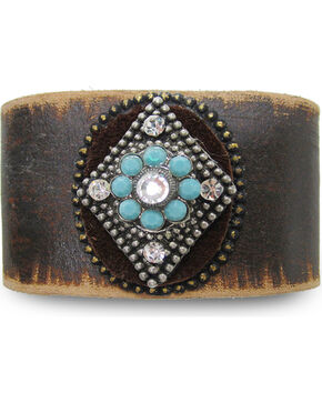Cowgirl Confetti Women's Brown Mystic Diamond Leather Cuff , Dark Brown, hi-res