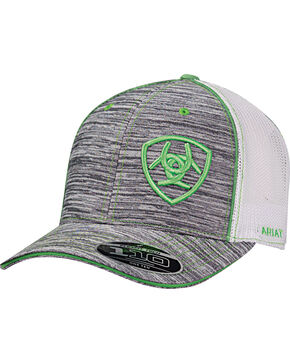 Ariat Men's Grey Offset Green Shield Baseball Cap , Grey, hi-res