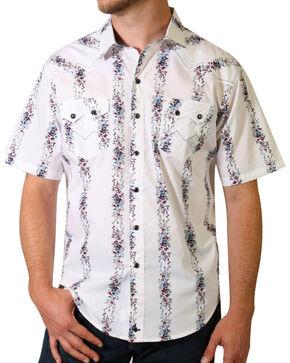 Cody James Men's Vine Striped Short Sleeve Shirt, White, hi-res