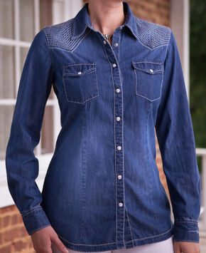 Ryan Michael Women's Quilted Yokes Denim Shirt, Indigo, hi-res