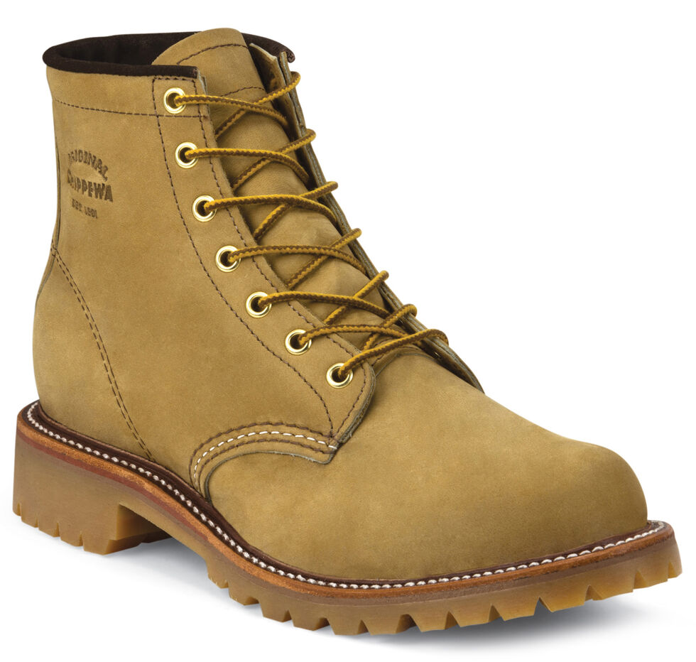 """Chippewa Men's 6"""" Lace-Up Golden Apache Lugged Boots - Round Toe, Tan, hi-res"""