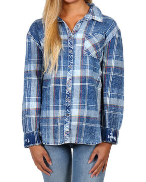 White Crow Women's Good Things Take Time Plaid Shirt , Indigo, hi-res