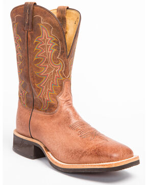Tony Lama Smooth Quill Ostrich Cowboy Boots - Wide Square Toe, Dark Brown, hi-res