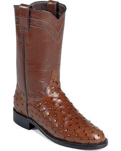Justin Full Quill Ostrich Roper Boots - Medium Toe, Brown, hi-res