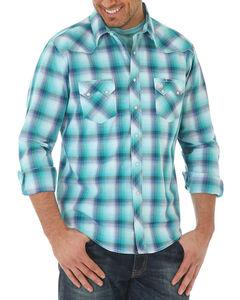 Wrangler Men's Blue Ombre Plaid Long Sleeve Shirt , Blue, hi-res
