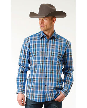 Roper Men's Crystal Blue Plaid Long Sleeve Button Down Shirt - Big & Tall, Blue, hi-res