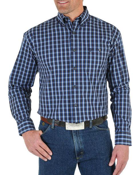 Wrangler George Strait Men's Large Check Patterned Long Sleeve Shirt - Big & Tall , Blue, hi-res