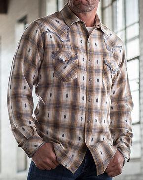 Ryan Michael Men's Ombre Dobby Plaid Shirt, Orange Pld, hi-res