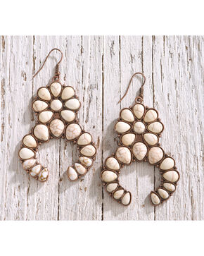 Shyanne Women's Copper and Bone Squash Blossom Statement Earrings, Rust Copper, hi-res