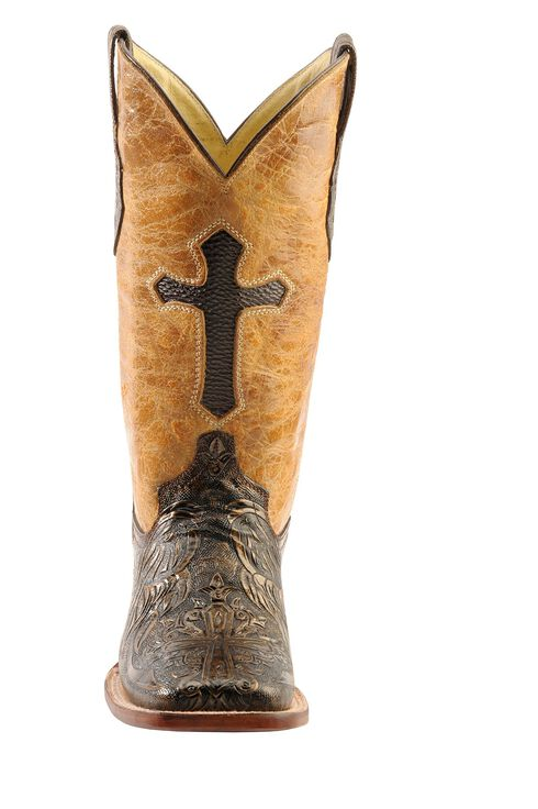 Ferrini Embossed Cross Inlay Cowgirl Boots - Wide Square Toe, Gold, hi-res