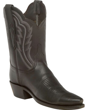 Lucchese Women's Hattie Black Goat Leather Short Western Boots - Snip Toe, Black, hi-res