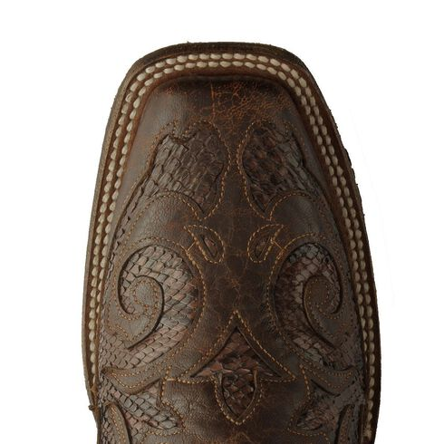 Corral Snake Inlay Cowgirl Boots, Chocolate, hi-res
