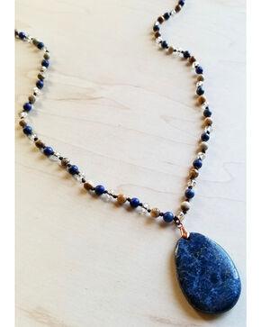Jewelry Junkie Blue Lapis and Picture Jasper Necklace with Blue Lapis Pendant, Blue, hi-res