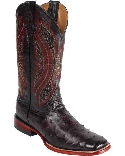Ferrini Full Quill Ostrich Cowboy Boots - Wide Square Toe, Black Cherry, hi-res