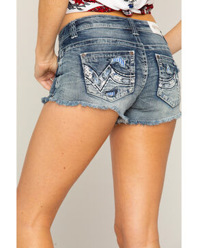 Shyanne Women's Distressed Contrast Pocket Shorts, Blue, hi-res