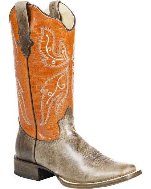 Roper Butterfly Cowgirl Boots - Square Toe, Brown, hi-res