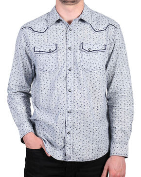Moonshine Spirit Men's Grey Floral Long Sleeve Shirt , Grey, hi-res
