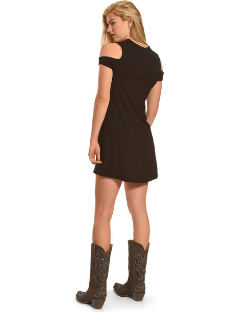 Bohemian Cowgirl Women's Cold Shoulder Cowboy Dress, Black, hi-res