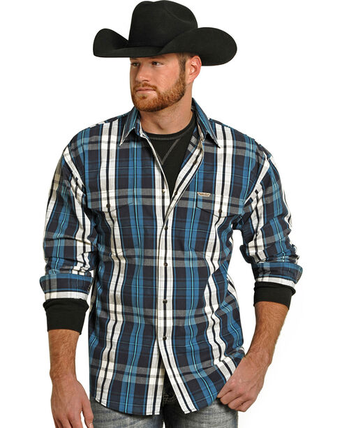 Powder River Outfitters Men's Bandera Brushed Plaid Shirt , Turquoise, hi-res
